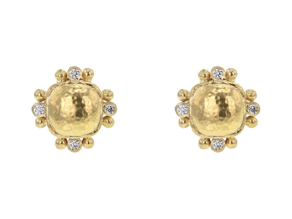 Locke Gold Dome Cushion Stud Earrings with Diamonds