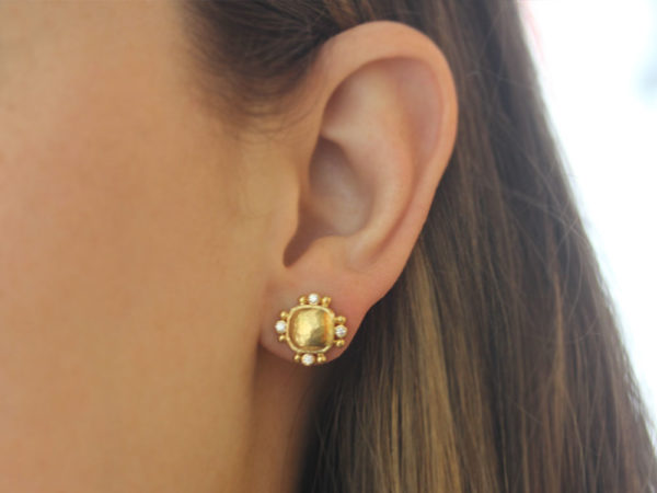 Elizabeth Locke Gold Dome Cushion Stud Earrings with Diamonds