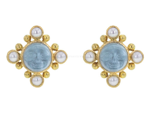 "Elizabeth Locke Light Aqua Venetian Glass Intaglio ""Man-in-the-Moon"" Stud Earrings with Pearls"