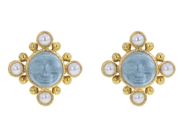 "Elizabeth Locke Light Aqua Venetian Glass Intaglio ""Man-in-the-Moon"" Stud Earrings with Pearls thumbnail"