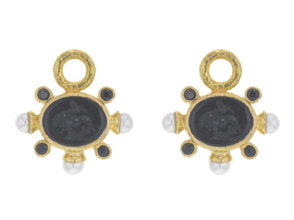 "Elizabeth Locke Black Venetian Glass Intaglio ""Tiny Lion"" Earring Charms With Pearls and Faceted Spinel thumbnail"