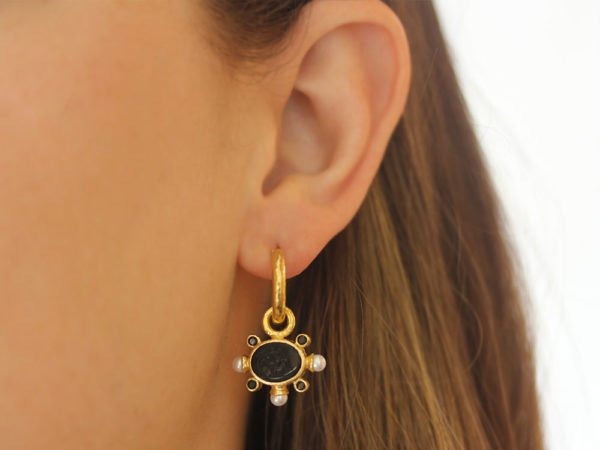 "Elizabeth Locke Black Venetian Glass Intaglio ""Tiny Lion"" Earring Charms With Pearls and Faceted Spinel"