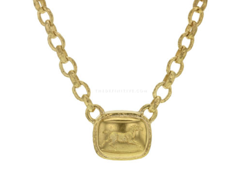 "Elizabeth Locke 16″ ""Running Horse"" On ""Treviso"" Gold Link Necklace"