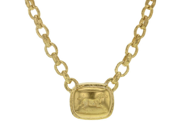 "Elizabeth Locke 16"" ""Running Horse"" On ""Treviso"" Gold Link Necklace thumbnail"
