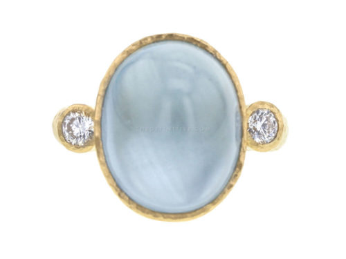 Elizabeth Locke Oval Aquamarine Ring with Round Side Diamonds