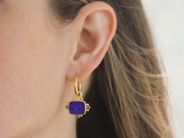 """Elizabeth Locke Cobalt Venetian Glass Intaglio """"Two Cranes"""" Earring Charms With Faceted Iolites"""