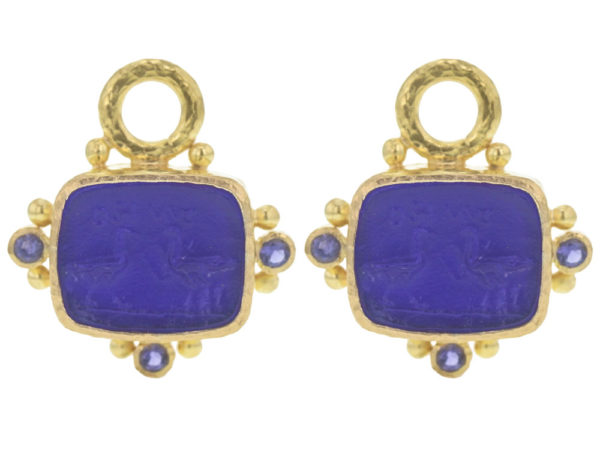 """Elizabeth Locke Cobalt Venetian Glass Intaglio """"Two Cranes"""" Earring Charms With Faceted Iolites thumbnail"""