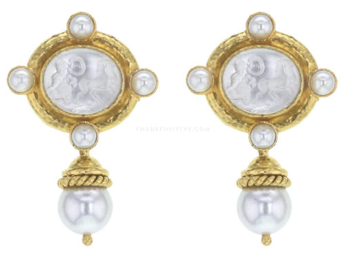 "Elizabeth Locke Crystal Venetian Glass Intaglio ""Cabochon Quadriga"" and Pearl Drop Earrings with Detachable Drop"