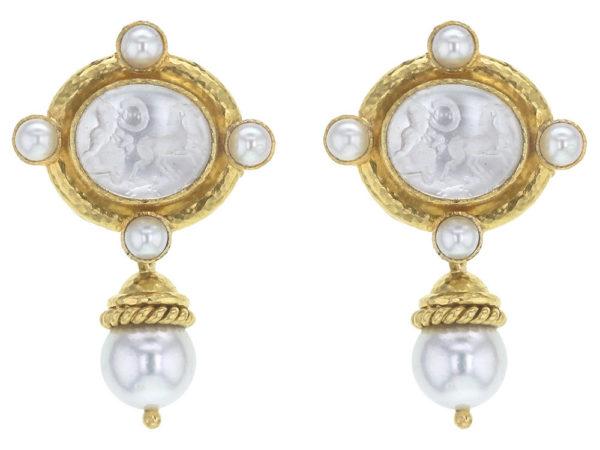"Elizabeth Locke Crystal Venetian Glass Intaglio ""Cabochon Quadriga"" and Pearl Earrings with Detachable Drop thumbnail"