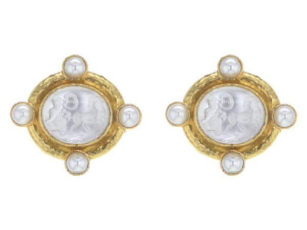 "Elizabeth Locke Crystal Venetian Glass Intaglio ""Cabochon Quadriga"" and Pearl Earrings with Detachable Drop model shot #2"