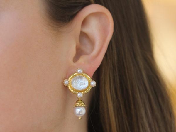 "Elizabeth Locke Crystal Venetian Glass Intaglio ""Cabochon Quadriga"" and Pearl Earrings with Detachable Drop"