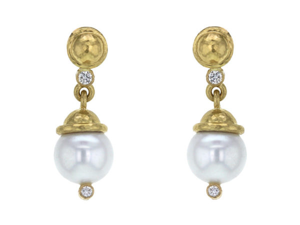 Elizabeth Locke Gold Dome and Diamond Earring with White Pearl Drop thumbnail