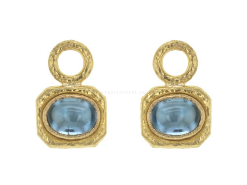 Elizabeth Locke Oval Blue Zircon with Octagonal Bezel Earring Charms