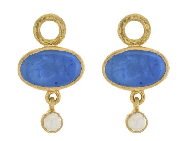 "Elizabeth Locke Peacock Venetian Glass Intaglio ""Flying Pegasus"" and Moonstone Earring Charms thumbnail"