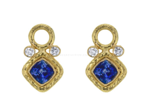Elizabeth Locke Faceted Blue Sapphire and Diamond Earring Charms