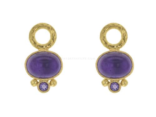 Elizabeth Locke Oval Cabochon Amethyst Earring Charms