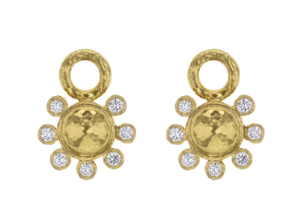 Elizabeth Locke Round Gold Dome and Diamond Earring Charms thumbnail