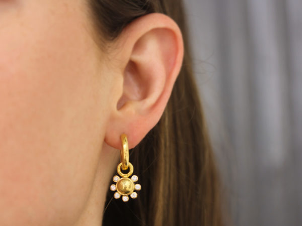 Elizabeth Locke Round Gold Dome and Diamond Earring Charms model shot #1