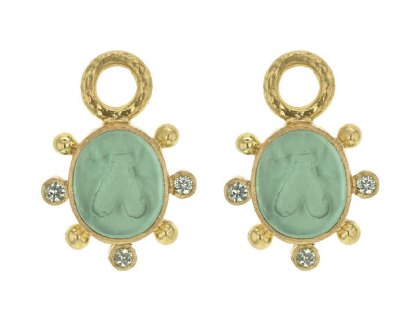 "Elizabeth Locke Nile Venetian Glass Intaglio ""Mosca"" Earring Charms With Faceted Peridot thumbnail"