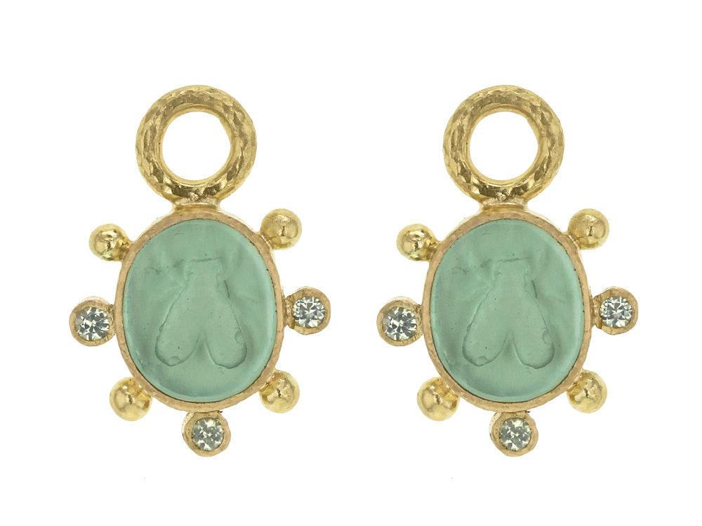 Elizabeth Locke Nile Venetian Gl Intaglio Mosca Earring Charms With Faceted Peridot Thumbnail