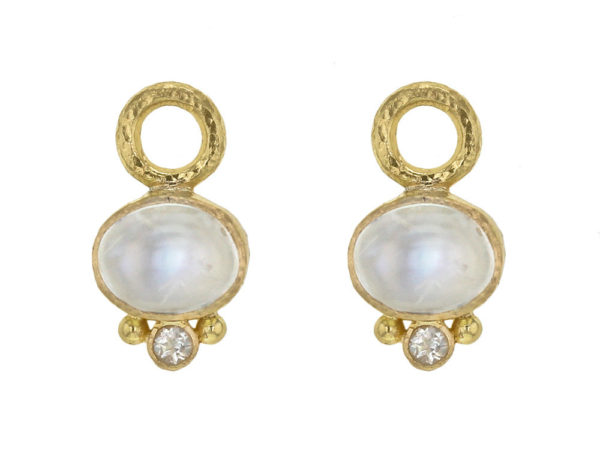 Elizabeth Locke Oval Cabochon Moonstone Earring Charms thumbnail