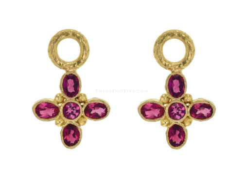 "Elizabeth Locke Faceted Red Spinel ""Iris"" Cross Earring Charms"