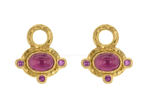 Elizabeth Locke Oval Cabochon Pink Tourmaline Earring Charms with Pink Sapphire