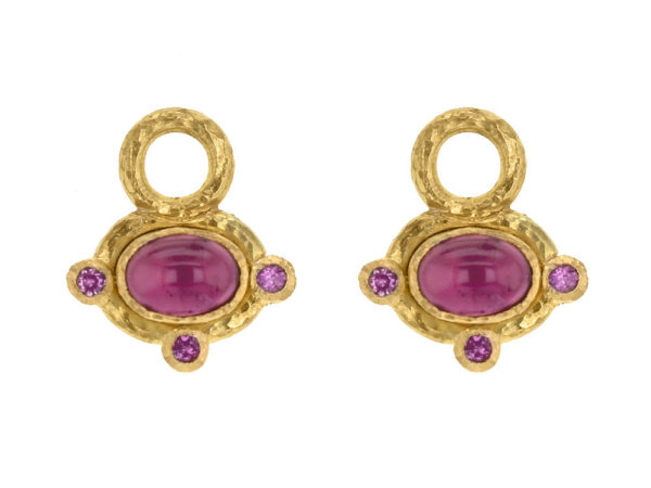 Elizabeth Locke Oval Cabochon Pink Tourmaline Earring Charms with Pink Sapphire thumbnail