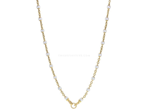 Elizabeth Locke 31″ Circle Clasp 7mm Pearl and Gold Link Necklace