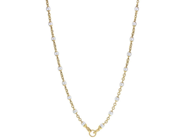 """Elizabeth Locke 31"""" Circle Clasp 7mm Pearl and Gold Link Necklace thumbnail"""