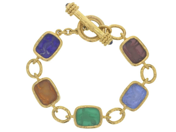 "Elizabeth Locke Venetial Glass Intaglio Antique ""Animals"" Link Bracelet With Toggle Clasp thumbnail"