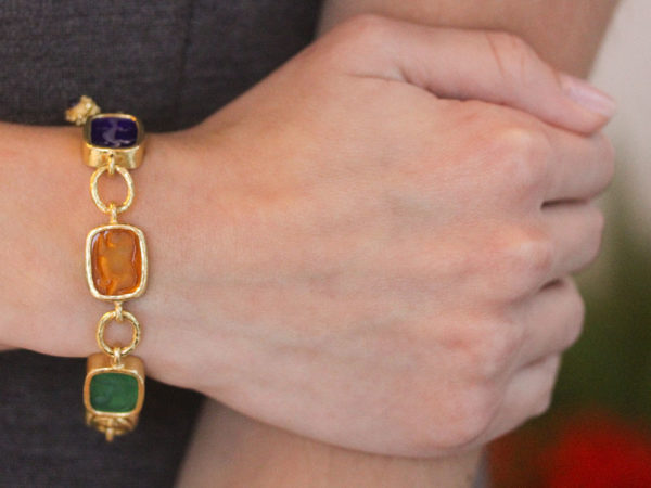 "Elizabeth Locke Venetial Glass Intaglio Antique ""Animals"" Link Bracelet With Toggle Clasp"
