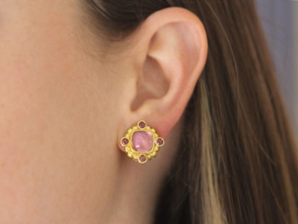 Elizabeth Locke Cushion Cut Cabochon Pink Tourmaline Earrings