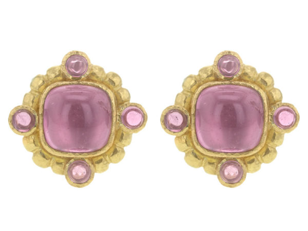 Elizabeth Locke Cushion Cut Cabochon Pink Tourmaline Earrings thumbnail