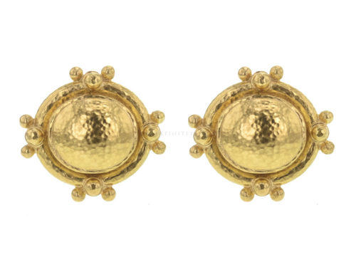 Elizabeth Locke Oval Gold Dome Earrings With Gold Dots and Granulation
