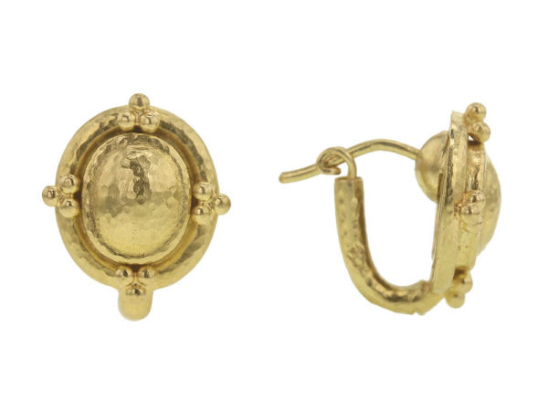 Elizabeth Locke Sarabella Gold Dome Studs with Triads For Earring Charms thumbnail