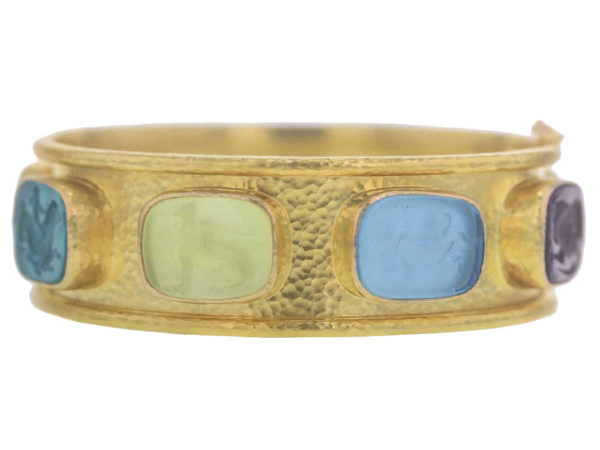 "Elizabeth Locke Venetian Glass Intaglio With ""Antique Animals"" In Flat Narrow Bangle thumbnail"