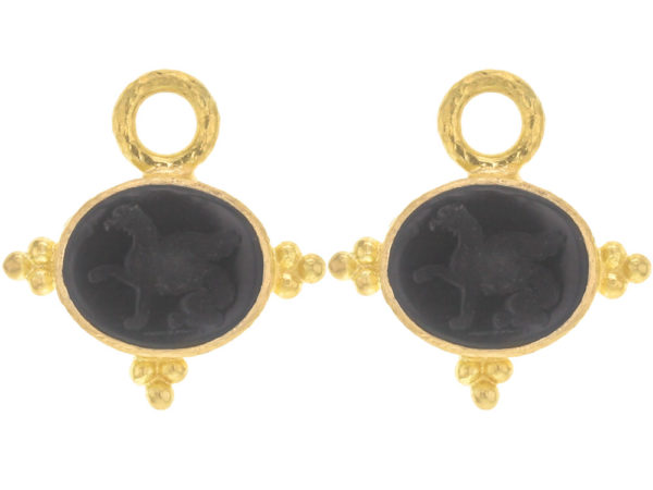 "Elizabeth Locke Venetian Glass Intaglio ""Grifo"" Earring Charms With Three Gold Triads On Thin Bezel thumbnail"