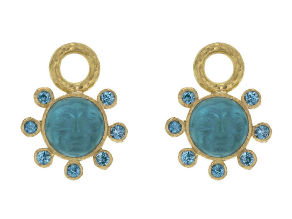 "Elizabeth Locke Teal Venetian Glass Intaglio ""Man in the Moon"" Earring Charms With Blue Zircon Halo thumbnail"