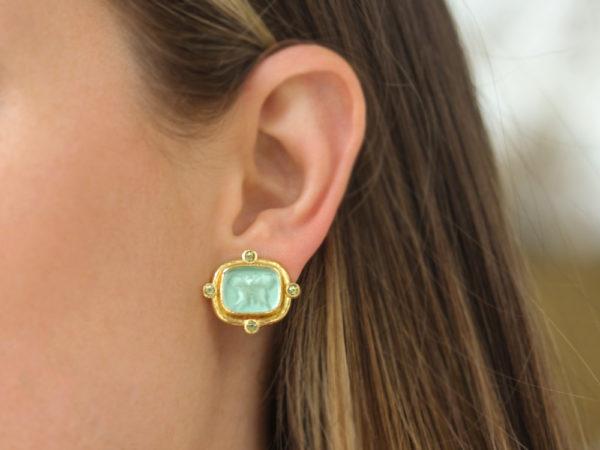 """Elizabeth Locke Nile Green Venetian Glass Intaglio """"Butterfly"""" And Peridot Earrings"""