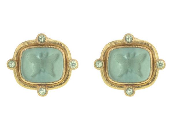 """Elizabeth Locke Nile Green Venetian Glass Intaglio """"Butterfly"""" And Peridot Earrings thumbnail"""
