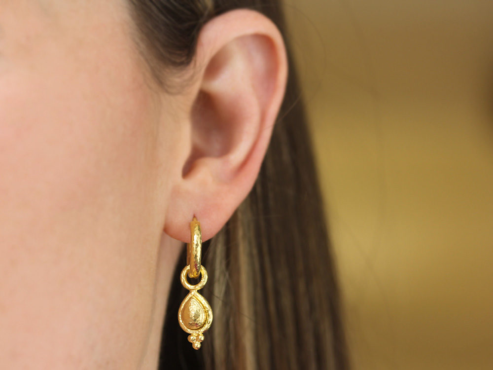 Elizabeth Locke Slightly Domed Gold Teardrop Earring Charms With Triad Bottom