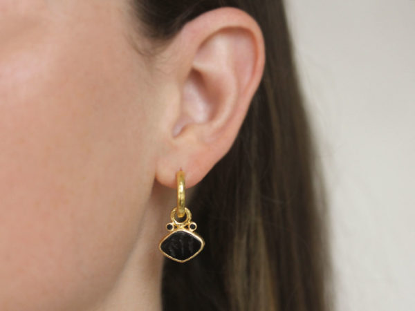 "Elizabeth Locke Black Venetian Glass Intaglio ""Rombo"" and Faceted Black Spinel Earring Charms for Hoops"