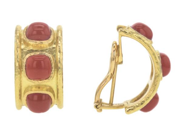 Elizabeth Locke Cabochon Carnelian Earrings in Large Flat Hoop with Rims model shot #2
