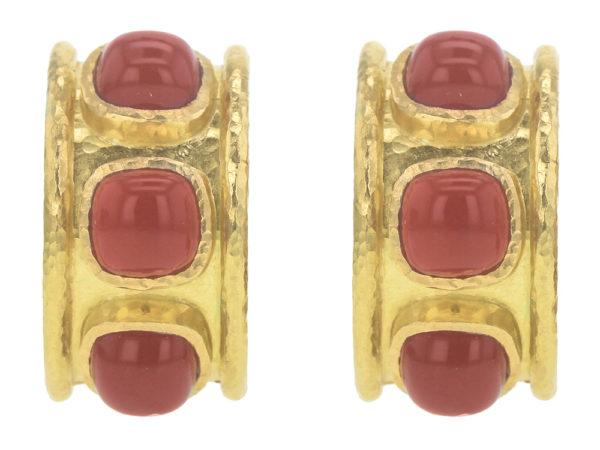 Elizabeth Locke Cabochon Carnelian Earrings in Large Flat Hoop with Rims thumbnail