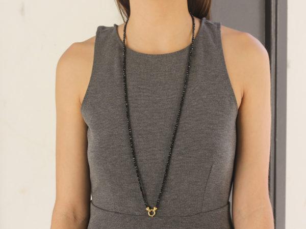 """Elizabeth Locke 35"""" """"Francesca"""" Clasp Necklace With 4mm Faceted Spinels model shot #2"""