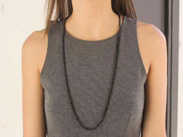 """Elizabeth Locke 35"""" """"Francesca"""" Clasp Necklace With 4mm Faceted Spinels model shot #3"""