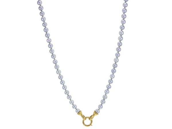 "Elizabeth Locke 31"" Granulated ""Francesca"" Clasp Necklace With 6.5-7mm Akoya Pearls model shot #3"