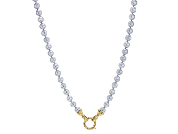 "Elizabeth Locke 31"" Granulated ""Francesca"" Clasp Necklace With 6.5-7mm Akoya Pearls thumbnail"