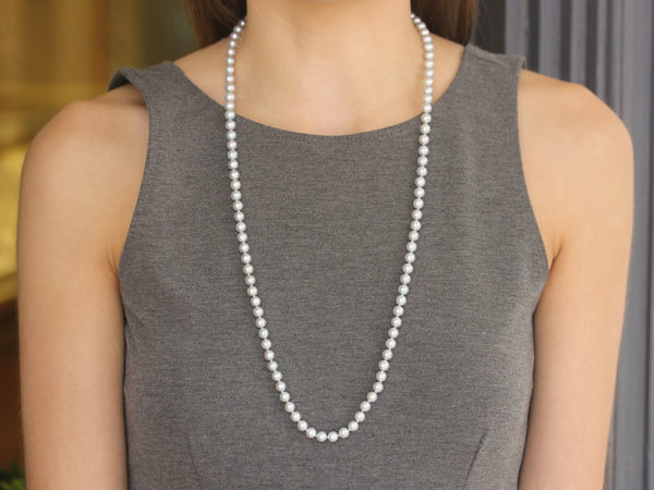 "Elizabeth Locke 31"" Granulated ""Francesca"" Clasp Necklace With 6.5-7mm Akoya Pearls model shot #2"